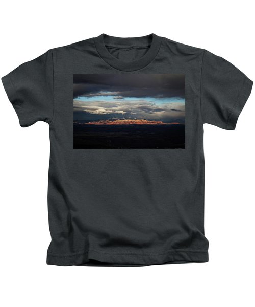 Late Light On Red Rocks With Storm Clouds Kids T-Shirt
