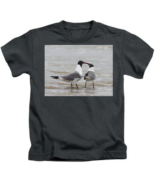 Laughing Gulls In Love Kids T-Shirt
