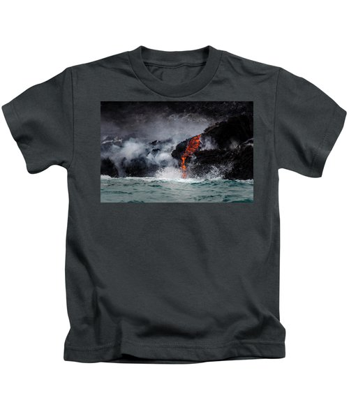 Lava Dripping Into The Ocean Kids T-Shirt