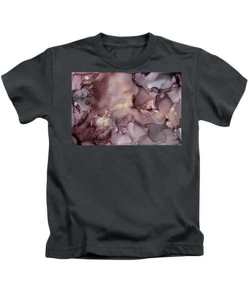 Lavender Gold Swirls Ink Abstract Painting Kids T-Shirt
