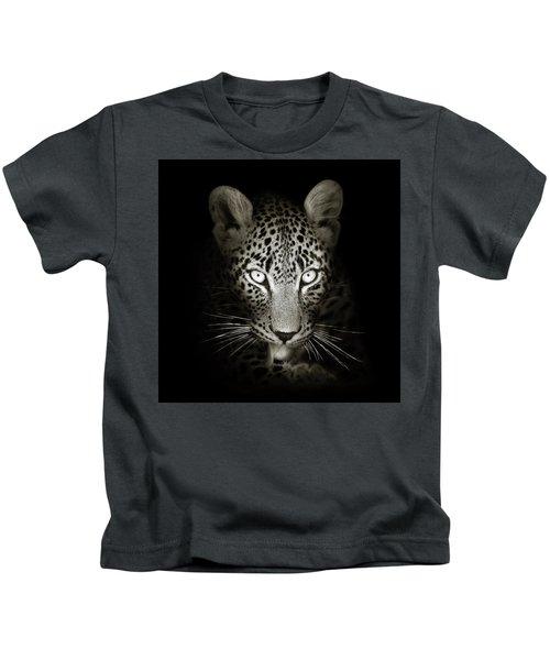 Leopard Portrait In The Dark Kids T-Shirt