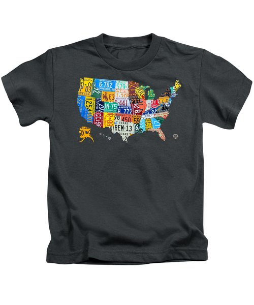 License Plate Map Of The United States Kids T-Shirt by Design Turnpike