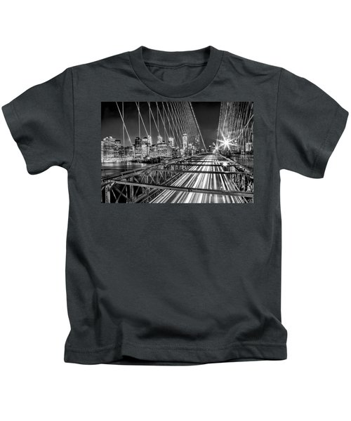 Light Trails Of Manhattan Kids T-Shirt by Az Jackson