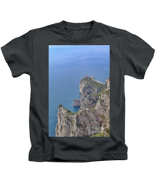 Lighthouse On The Cliff Kids T-Shirt
