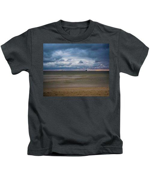 Lighthouse Under Brewing Clouds Kids T-Shirt