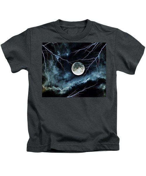 Lightning Sky At Full Moon Kids T-Shirt