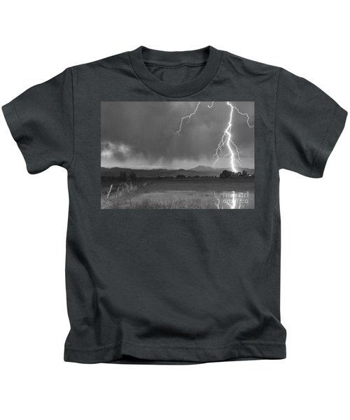 Lightning Striking Longs Peak Foothills 5bw Kids T-Shirt