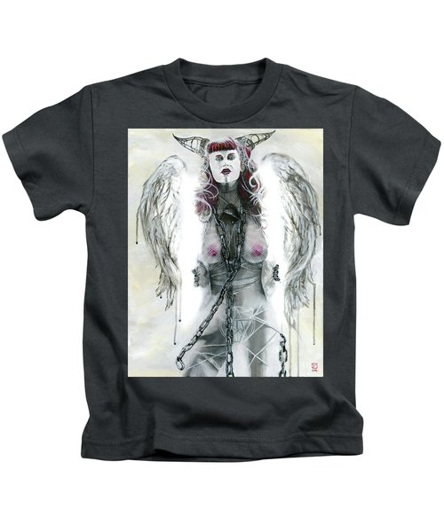 Kids T-Shirt featuring the painting Lilith by Matthew Mezo