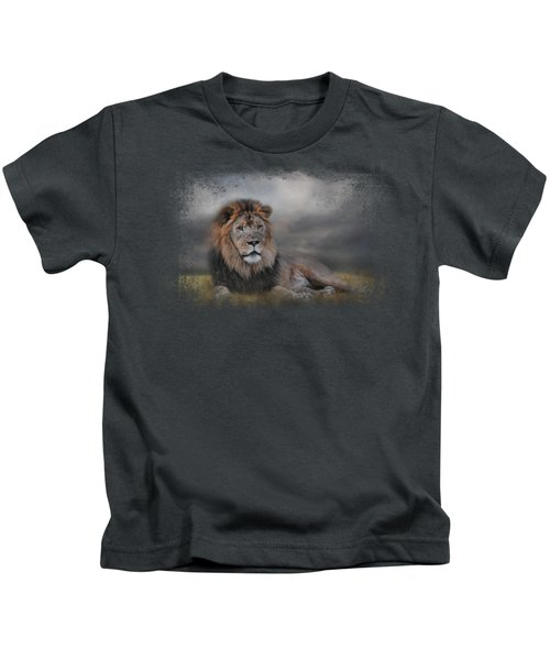 Lion Waiting For The Storm Kids T-Shirt by Jai Johnson