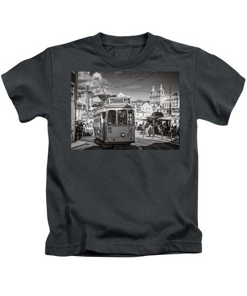 Lisbon Tram Bw Kids T-Shirt