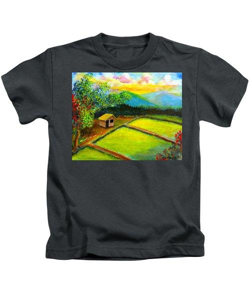 Little Hut In The Farm Kids T-Shirt