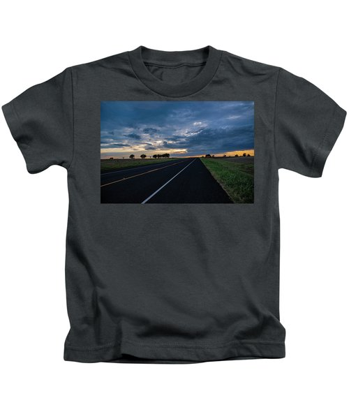 Lone Highway At Sunset Kids T-Shirt