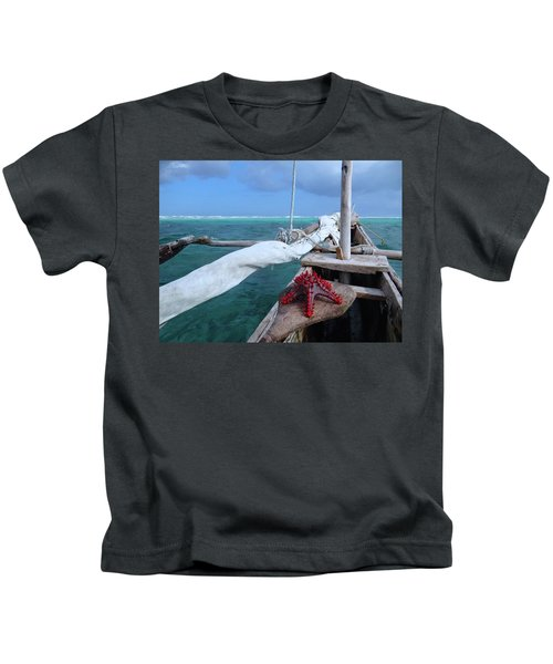 Lone Red Starfish On A Wooden Dhow 1 Kids T-Shirt