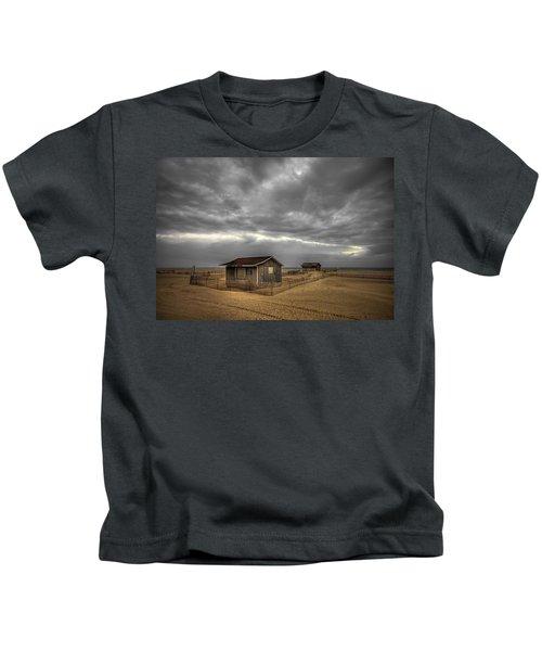 Lonely Beach Shacks Kids T-Shirt
