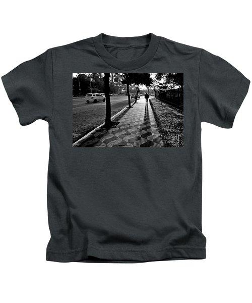 Lonely Man Walking At Dusk In Sao Paulo Kids T-Shirt