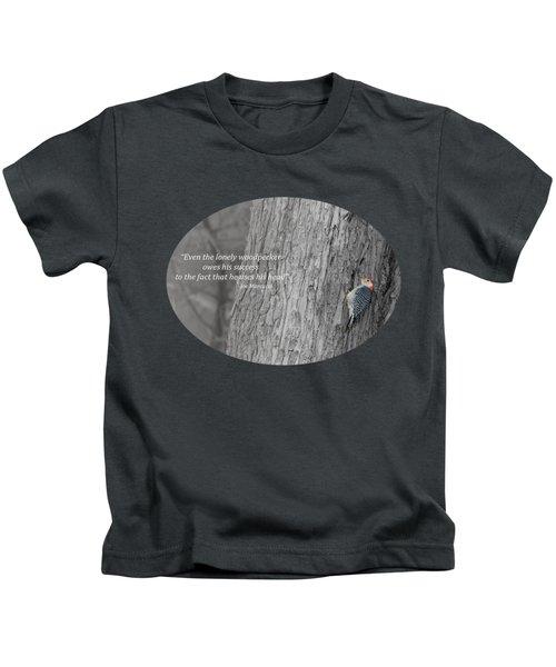 Lonely Woodpecker Kids T-Shirt by Jan M Holden