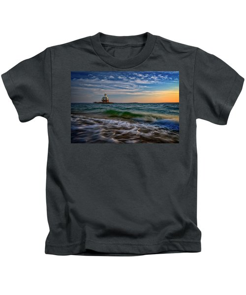 Long Beach Bar Lighthouse Kids T-Shirt