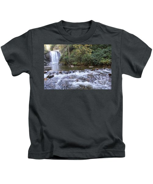 Looking Glass Falls Downstream Kids T-Shirt