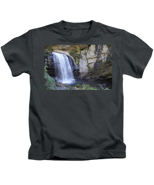 Looking Glass Falls Side View Kids T-Shirt