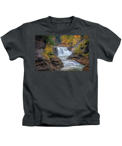 Lower Falls In Autumn Kids T-Shirt