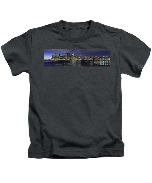 Lower Manhattan From Brooklyn Heights At Dusk - New York City Kids T-Shirt