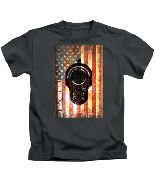 M1911 Colt 45 On Rusted American Flag Kids T-Shirt
