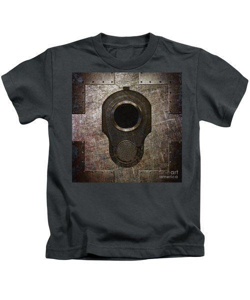 M1911 Muzzle On Rusted Riveted Metal Dark Kids T-Shirt