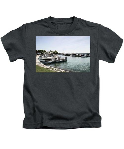 Mackinac Marina Art Kids T-Shirt