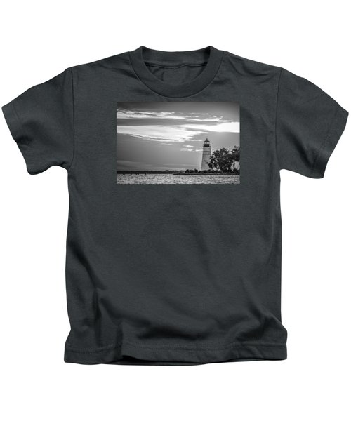 Madisonville Lighthouse In Black-and-white Kids T-Shirt
