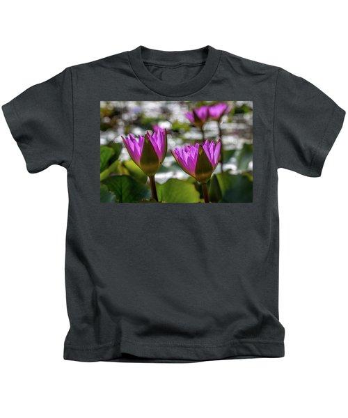 Magenta Water Lilies Kids T-Shirt