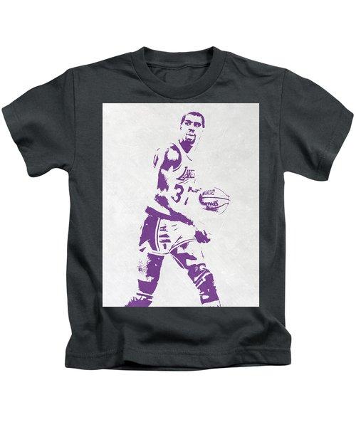 Magic Johnson Los Angeles Lakers Pixel Art Kids T-Shirt by Joe Hamilton
