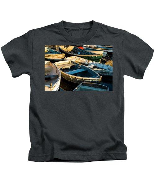 Maine Boats At Sunset Kids T-Shirt