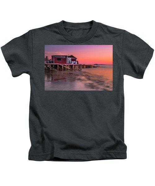 Maine Coastal Sunset At Dicks Lobsters - Crabs Shack Kids T-Shirt