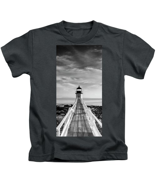 Maine Marshall Point Lighthouse Vertical Panorama In Black And White Kids T-Shirt