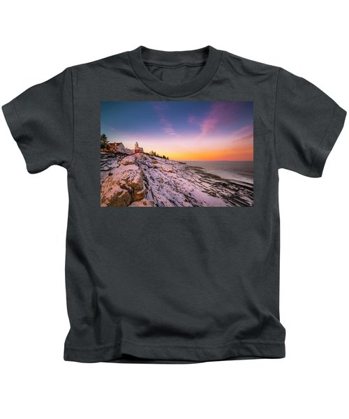 Maine Pemaquid Lighthouse In Winter Snow Kids T-Shirt