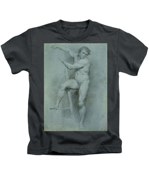 Male Nude Leaning On A Ladder Kids T-Shirt