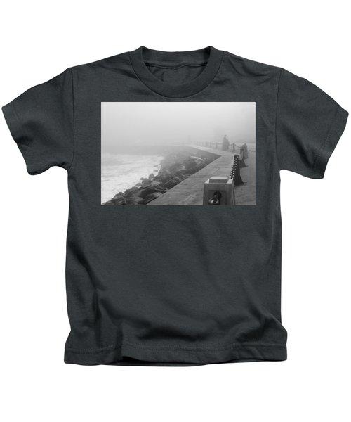 Man Waiting In Fog Kids T-Shirt