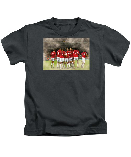 Manchester United  In Action  Kids T-Shirt by Don Kuing