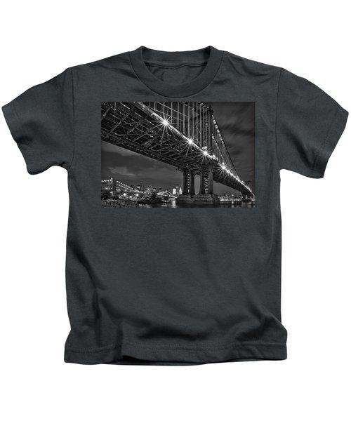 Manhattan Bridge Frames The Brooklyn Bridge Kids T-Shirt