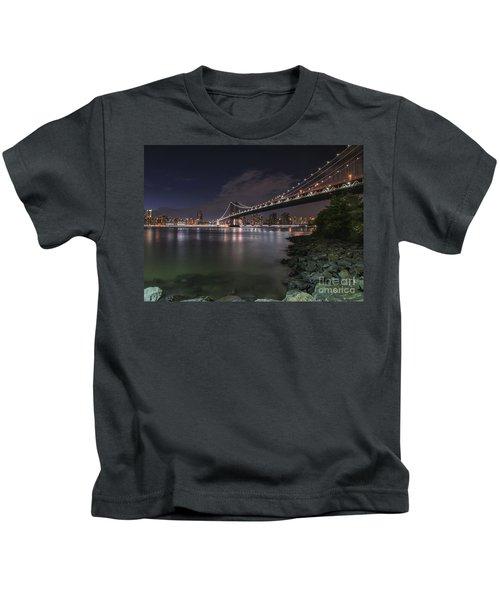 Manhattan Bridge Twinkles At Dusk Kids T-Shirt