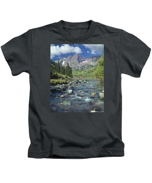 210404-maroon Bells And Creek  Kids T-Shirt