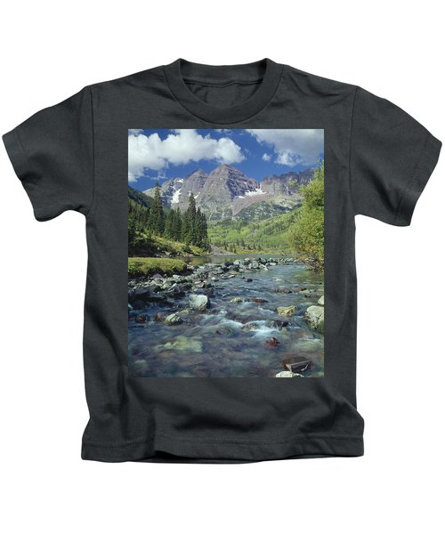 210404-maroon Bells And Creek  Kids T-Shirt