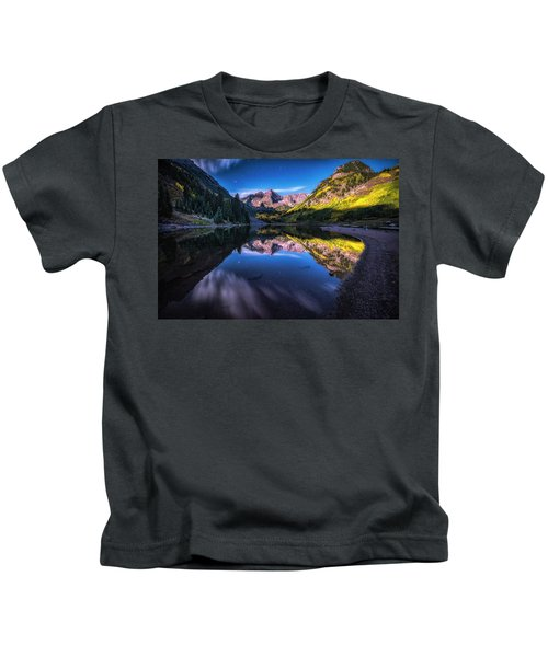 Maroon Bells By Moonlight Kids T-Shirt