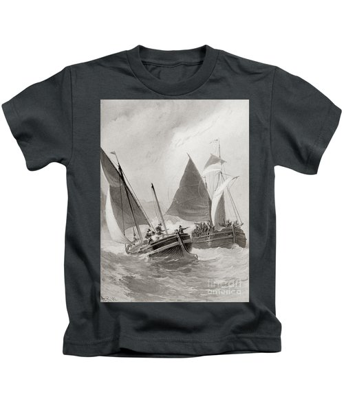 Mason And Gallop Attacking The Indians Off Block Island Kids T-Shirt
