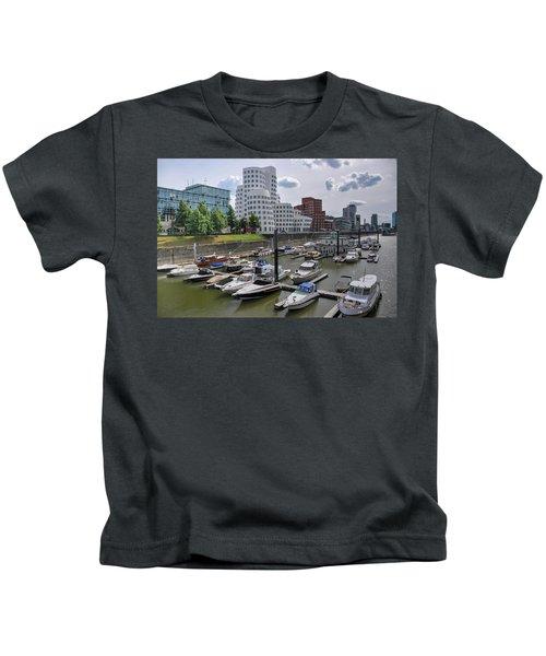 Media Harbor With Neuer Zollhof Buildings In Dusseldorf, Germany. Kids T-Shirt