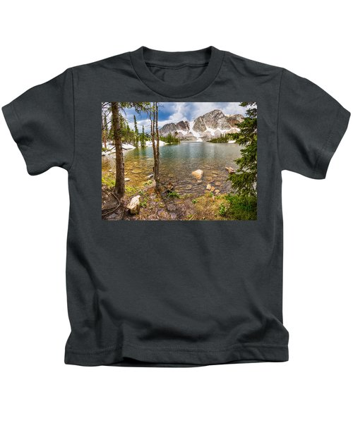 Medicine Bow Snowy Mountain Range Lake View Kids T-Shirt