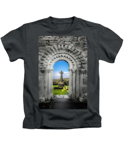 Medieval Arch And High Cross, County Clare, Ireland Kids T-Shirt
