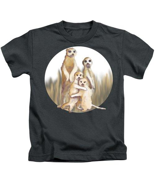 Meerkats  Kids T-Shirt by April Burton
