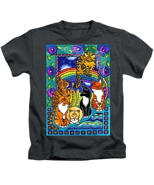 Meet Me At The Rainbow Bridge - Cat Painting Kids T-Shirt