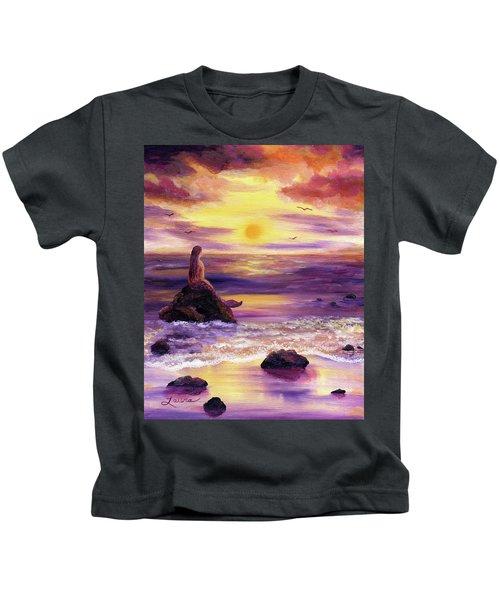 Mermaid In Purple Sunset Kids T-Shirt